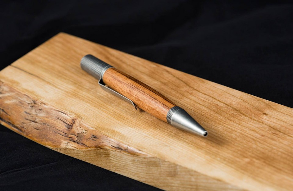 Professor Pen in antique pewter hardware with Sycamore wood
