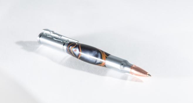 Chrome Bolt action pen with gunmetal acrylic